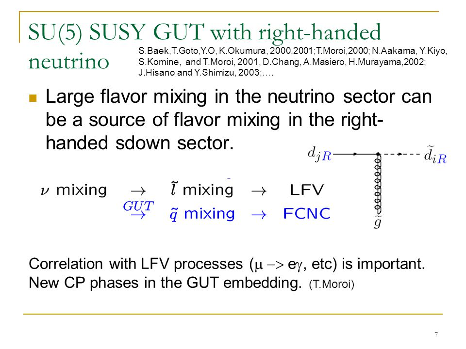 7 SU(5) SUSY GUT with right-handed neutrino Large flavor mixing in the neutrino sector can be a source of flavor mixing in the right- handed sdown sector.