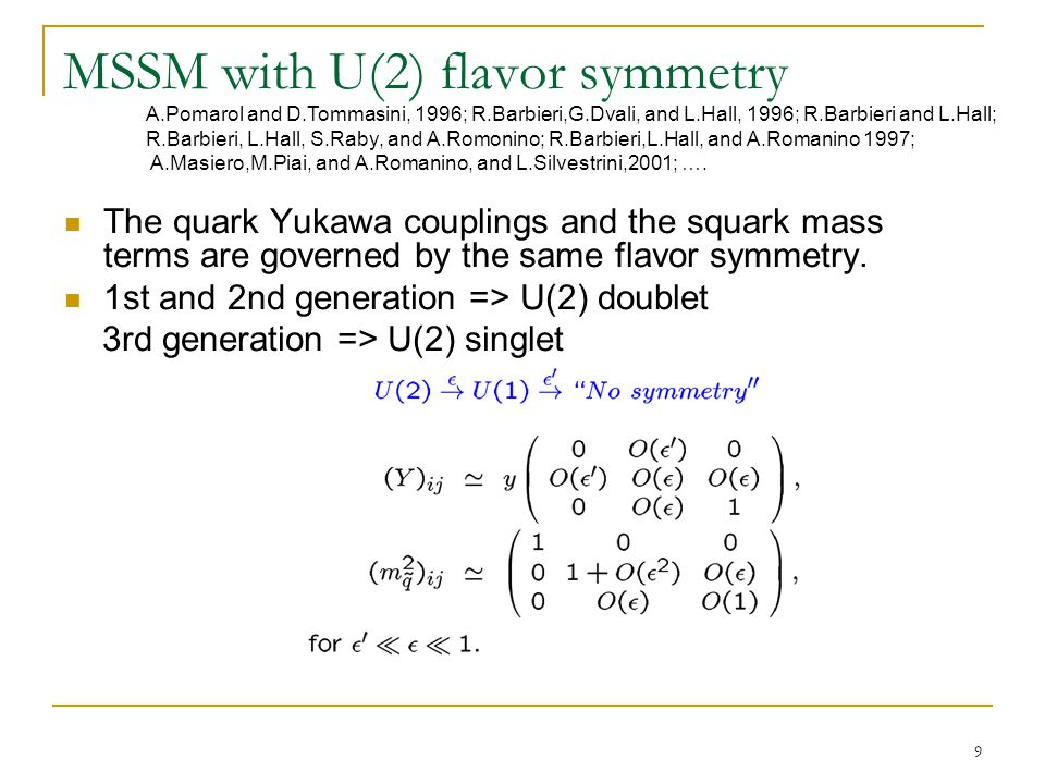 9 MSSM with U(2) flavor symmetry The quark Yukawa couplings and the squark mass terms are governed by the same flavor symmetry.