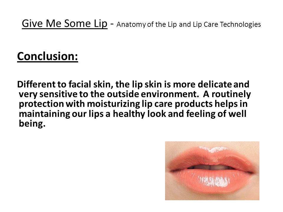 Give Me Some Lip - Anatomy of the Lip and Lip Care Technologies Conclusion: Different to facial skin, the lip skin is more delicate and very sensitive to the outside environment.