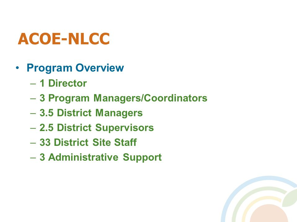 ACOE-NLCC Program Overview –1 Director –3 Program Managers/Coordinators –3.5 District Managers –2.5 District Supervisors –33 District Site Staff –3 Administrative Support
