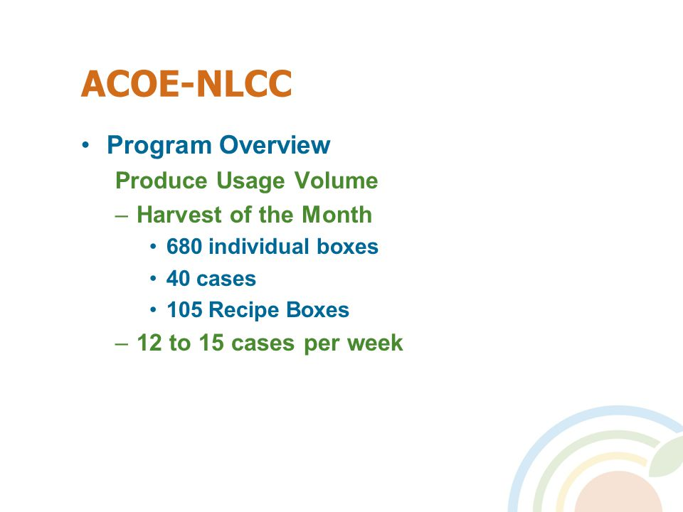ACOE-NLCC Program Overview Produce Usage Volume –Harvest of the Month 680 individual boxes 40 cases 105 Recipe Boxes –12 to 15 cases per week