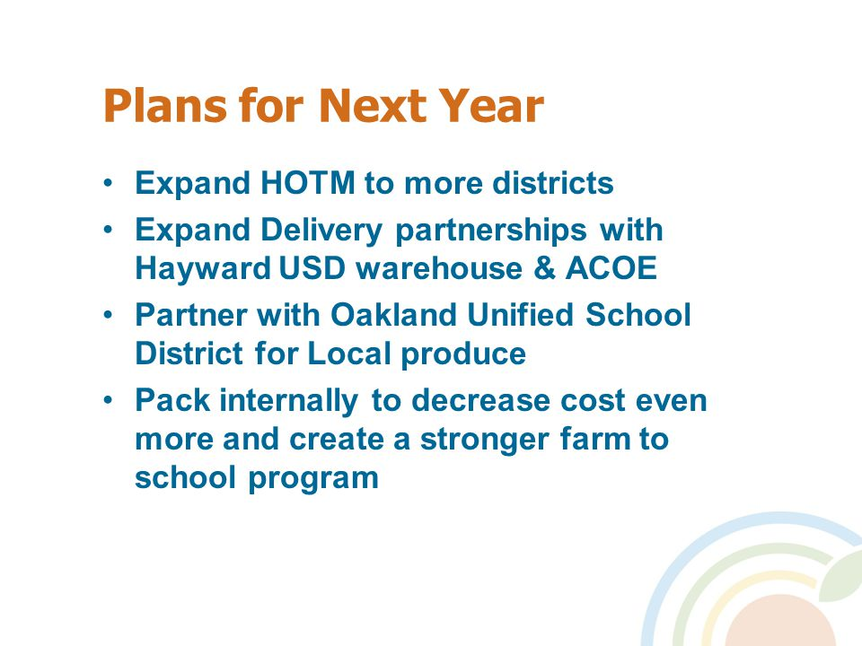 Plans for Next Year Expand HOTM to more districts Expand Delivery partnerships with Hayward USD warehouse & ACOE Partner with Oakland Unified School District for Local produce Pack internally to decrease cost even more and create a stronger farm to school program