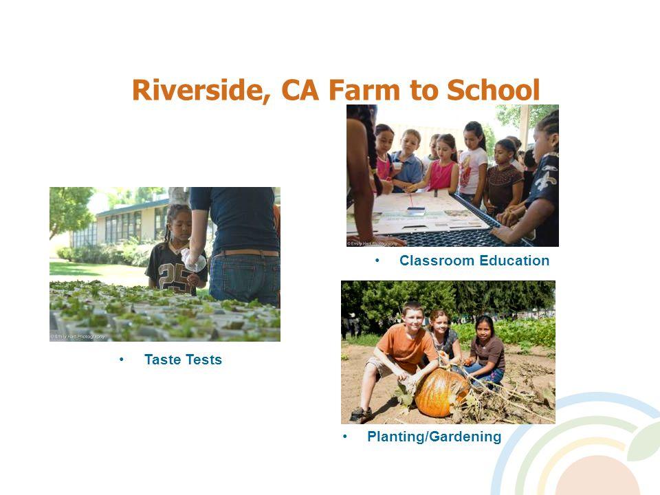 Riverside, CA Farm to School Planting/Gardening Classroom Education Taste Tests