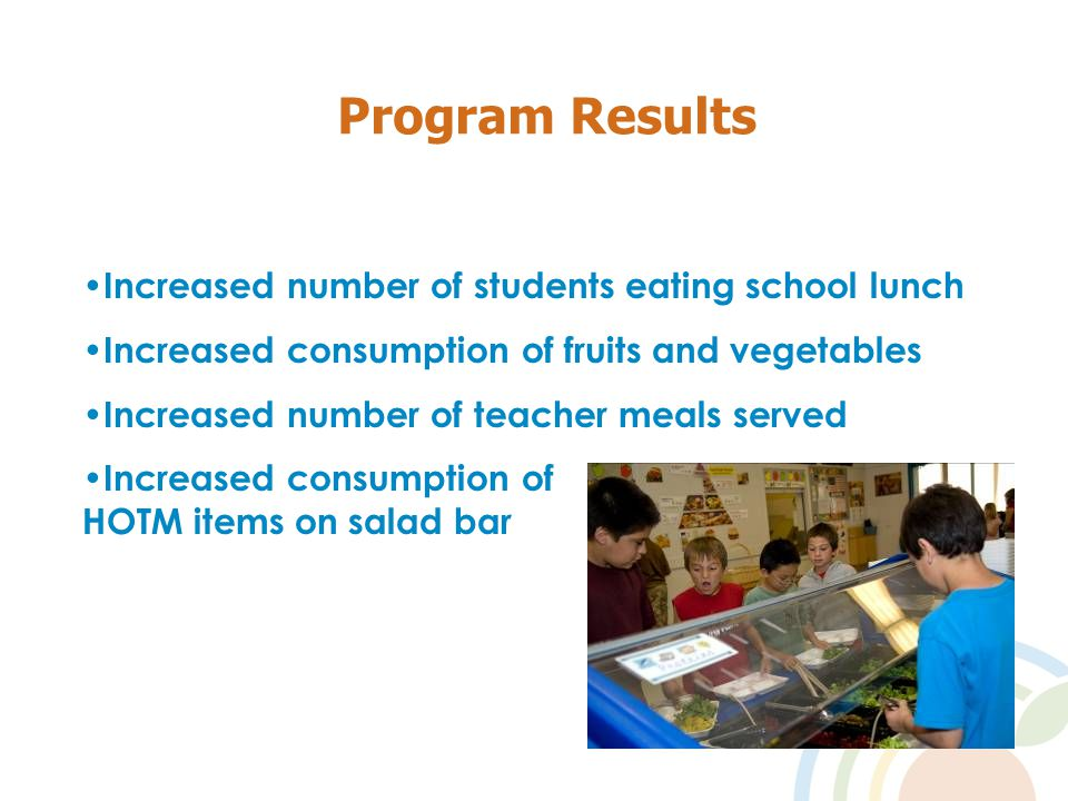 Program Results Increased number of students eating school lunch Increased consumption of fruits and vegetables Increased number of teacher meals served Increased consumption of HOTM items on salad bar