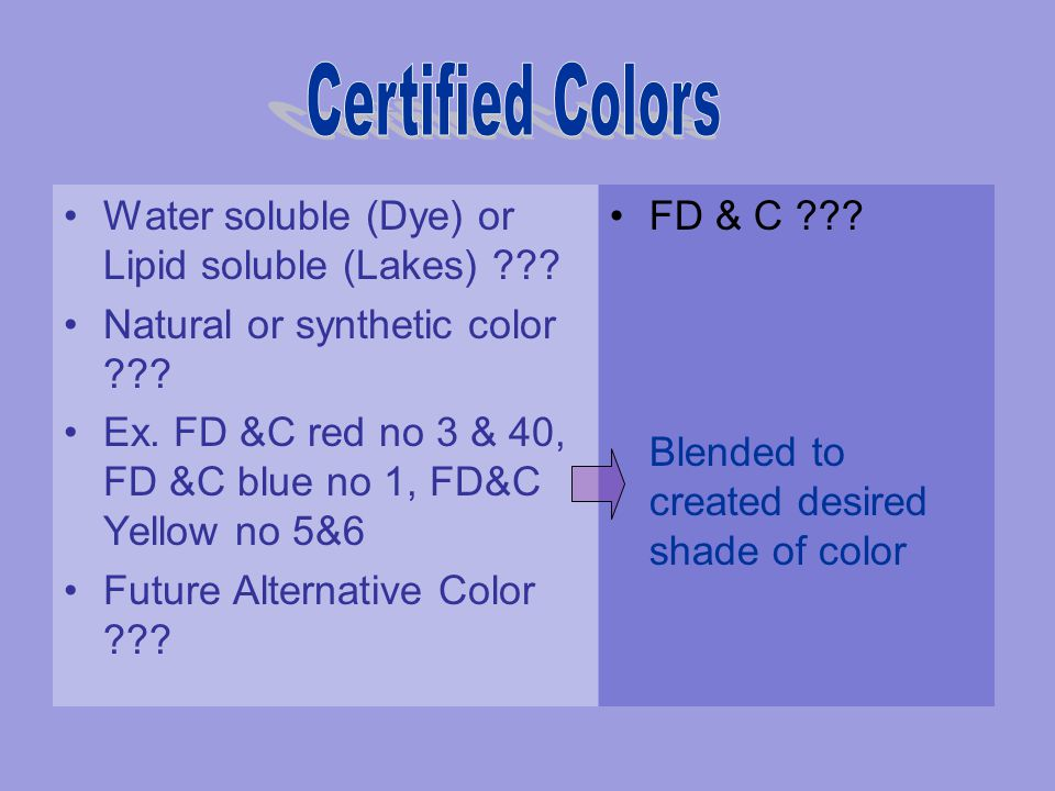 Water soluble (Dye) or Lipid soluble (Lakes) ??? Natural or synthetic color ??? Ex. FD &C red no 3 & 40, FD &C blue no 1, FD&C Yellow no 5&6 Future Al