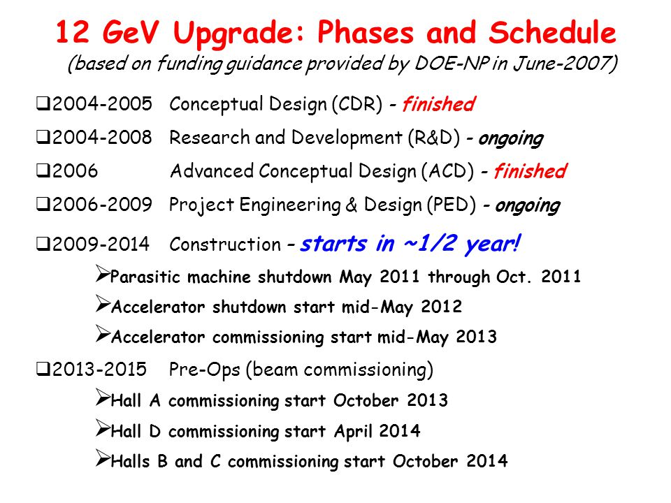  2004-2005 Conceptual Design (CDR) - finished  2004-2008 Research and Development (R&D) - ongoing  2006 Advanced Conceptual Design (ACD) - finished  2006-2009 Project Engineering & Design (PED) - ongoing  2009-2014 Construction – starts in ~1/2 year.