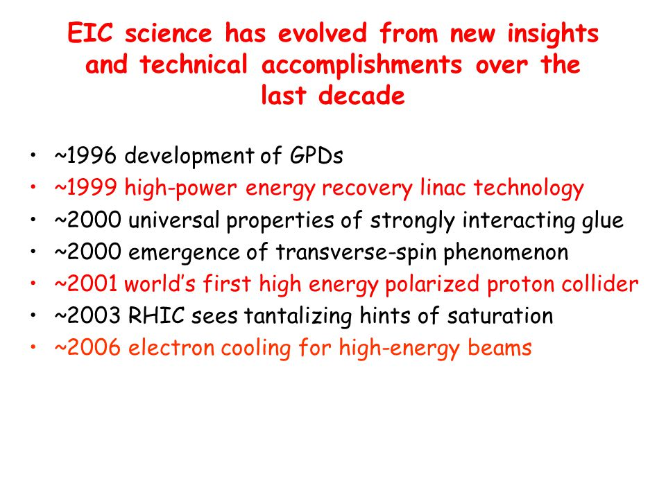 EIC science has evolved from new insights and technical accomplishments over the last decade ~1996 development of GPDs ~1999 high-power energy recover