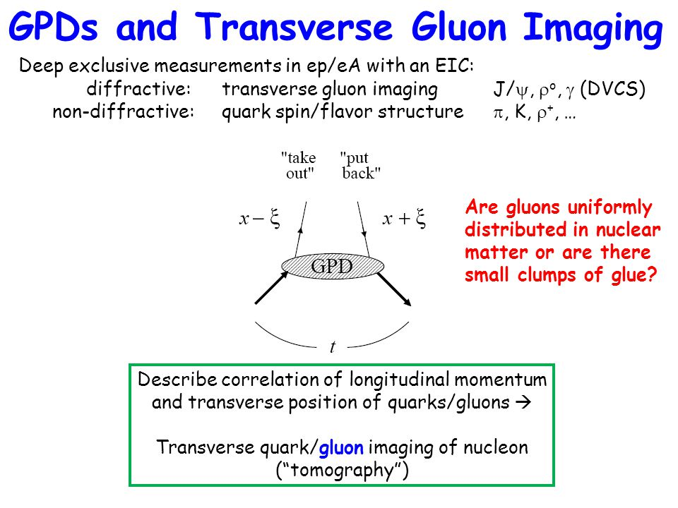 GPDs and Transverse Gluon Imaging Deep exclusive measurements in ep/eA with an EIC: diffractive:transverse gluon imagingJ/ ,  o,  (DVCS) non-diffra