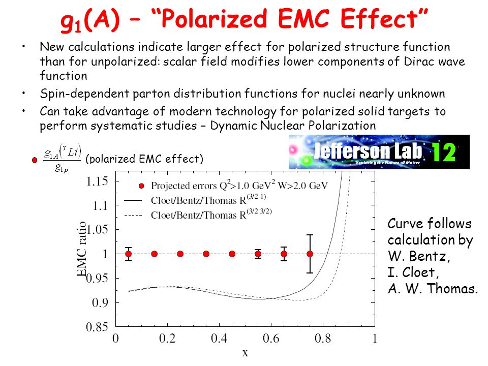 New calculations indicate larger effect for polarized structure function than for unpolarized: scalar field modifies lower components of Dirac wave function Spin-dependent parton distribution functions for nuclei nearly unknown Can take advantage of modern technology for polarized solid targets to perform systematic studies – Dynamic Nuclear Polarization (polarized EMC effect) Curve follows calculation by W.