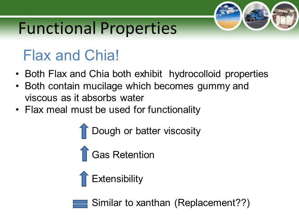 Functional Properties Flax and Chia! Both Flax and Chia both exhibit hydrocolloid properties Both contain mucilage which becomes gummy and viscous as