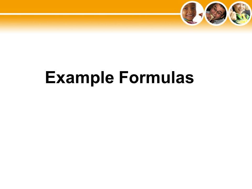 Example Formulas