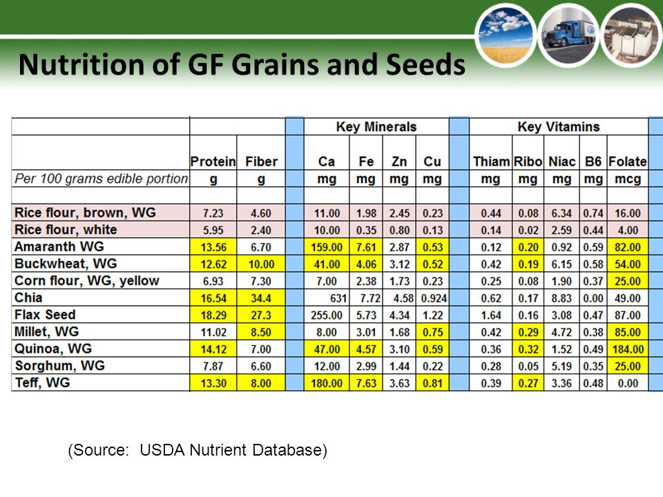 Nutrition of GF Grains and Seeds (Source: USDA Nutrient Database)