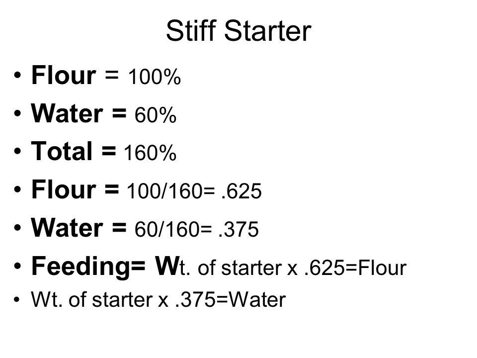 Stiff Starter Flour = 100% Water = 60% Total = 160% Flour = 100/160=.625 Water = 60/160=.375 Feeding= W t.