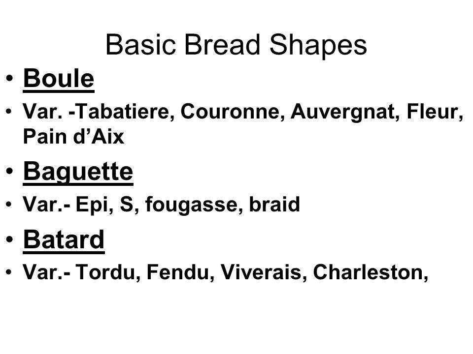 Basic Bread Shapes Boule Var.