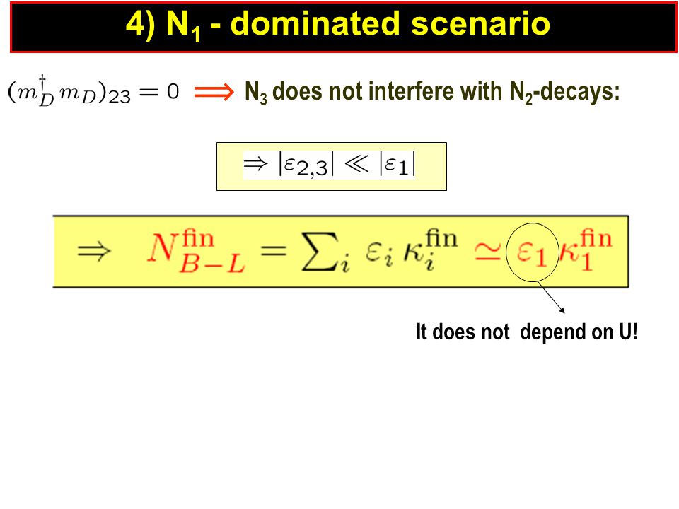  N 3 does not interfere with N 2 -decays: It does not depend on U! 4) N 1 - dominated scenario