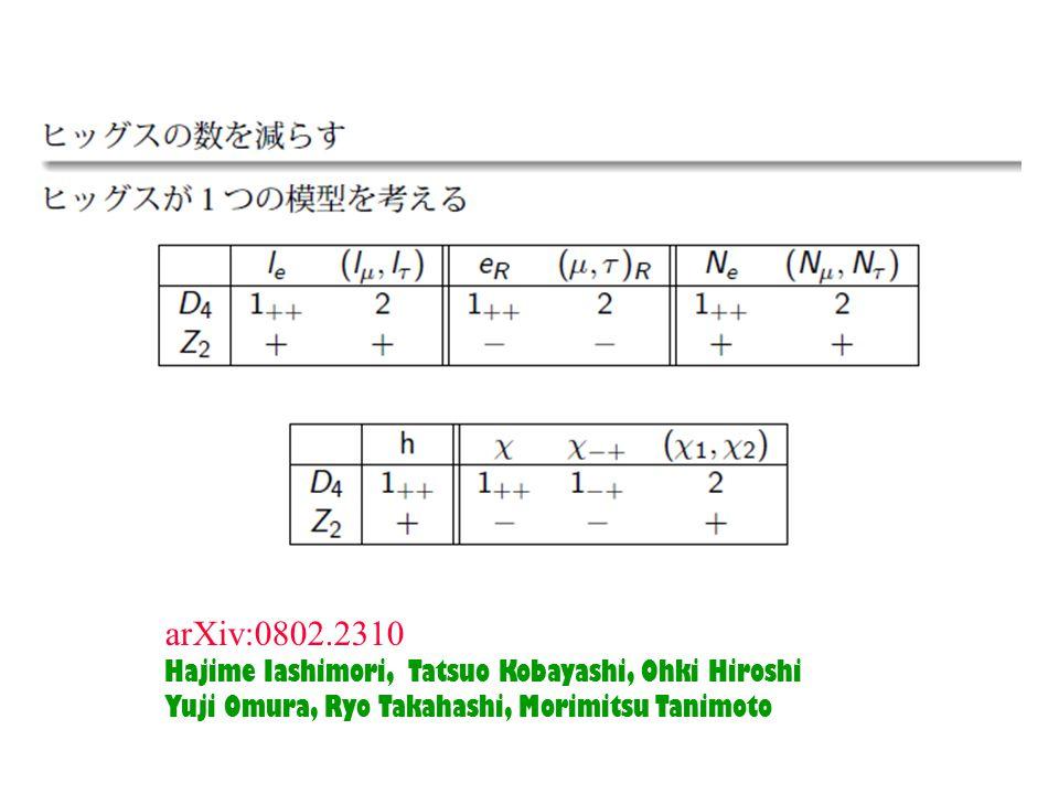 arXiv:0802.2310 Hajime Iashimori, Tatsuo Kobayashi, Ohki Hiroshi Yuji Omura, Ryo Takahashi, Morimitsu Tanimoto