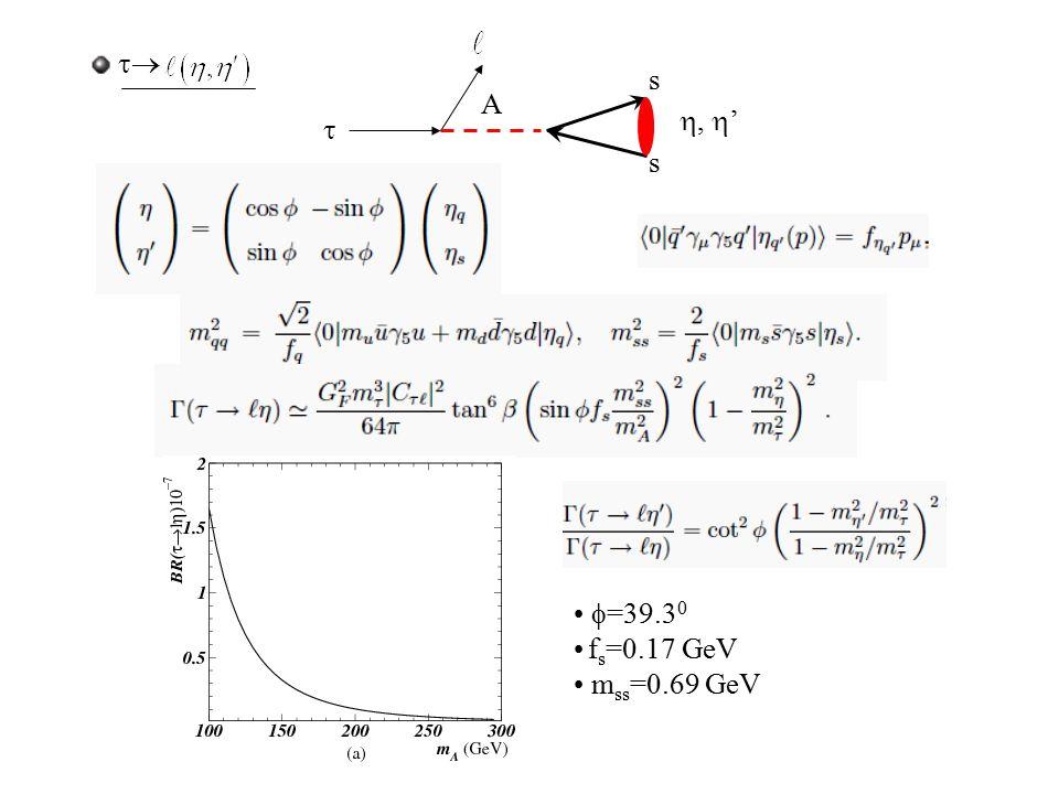  A s s ,  '  =39.3 0 f s =0.17 GeV m ss =0.69 GeV 