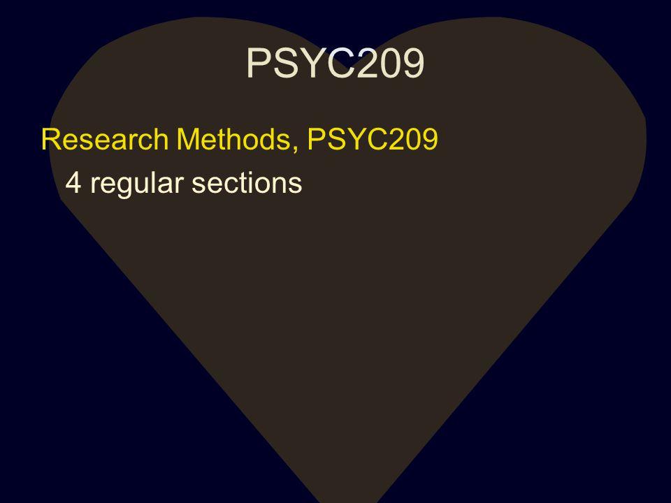 PSYC209 Research Methods, PSYC209 4 regular sections