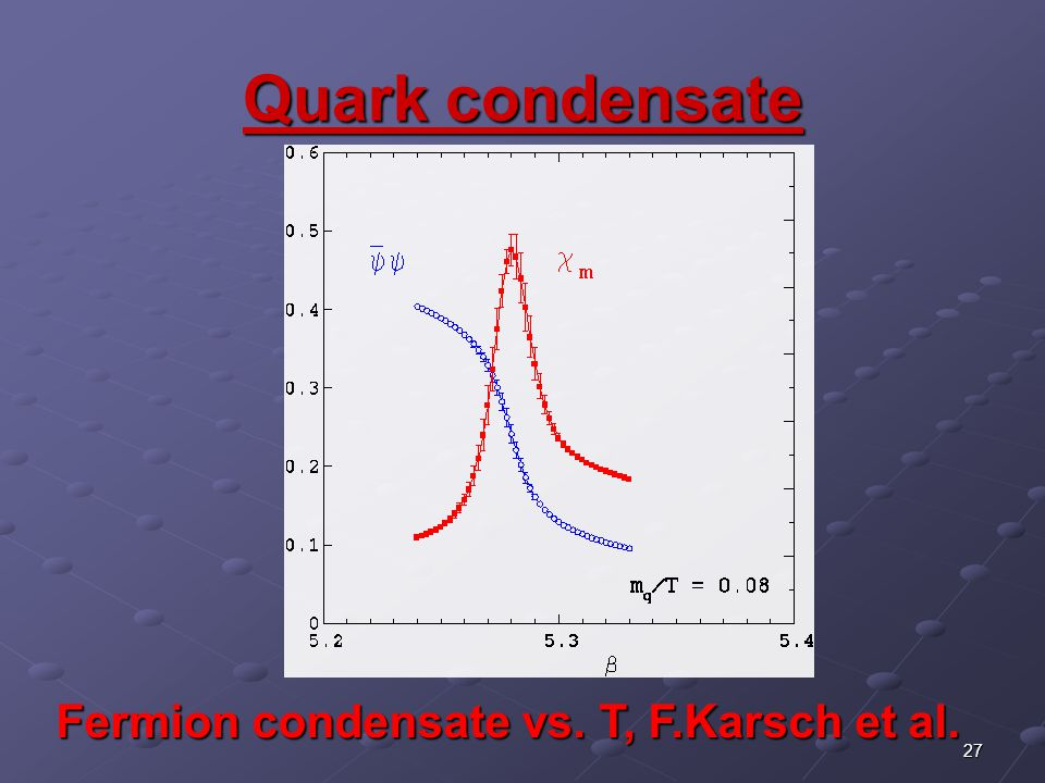 27 Quark condensate Fermion condensate vs. T, F.Karsch et al.