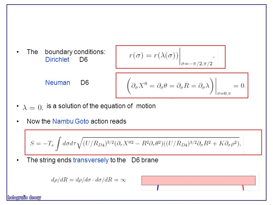 The boundary conditions: Dirichlet D6 Neuman D6 is a solution of the equation of motion Now the Nambu Goto action reads The string ends transversely to the D6 brane