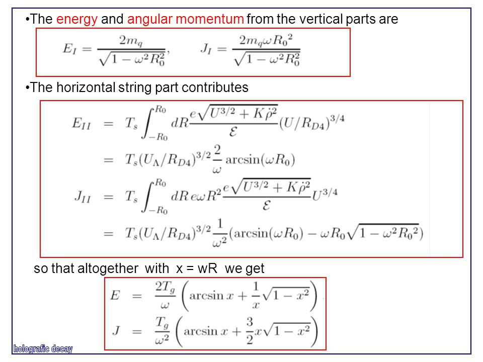 The energy and angular momentum from the vertical parts are The horizontal string part contributes so that altogether with x = wR we get