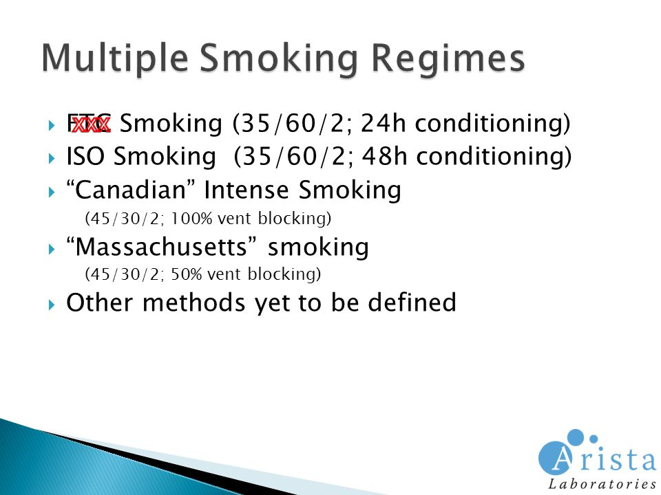  FTC Smoking (35/60/2; 24h conditioning)  ISO Smoking (35/60/2; 48h conditioning)  Canadian Intense Smoking (45/30/2; 100% vent blocking)  Massachusetts smoking (45/30/2; 50% vent blocking)  Other methods yet to be defined