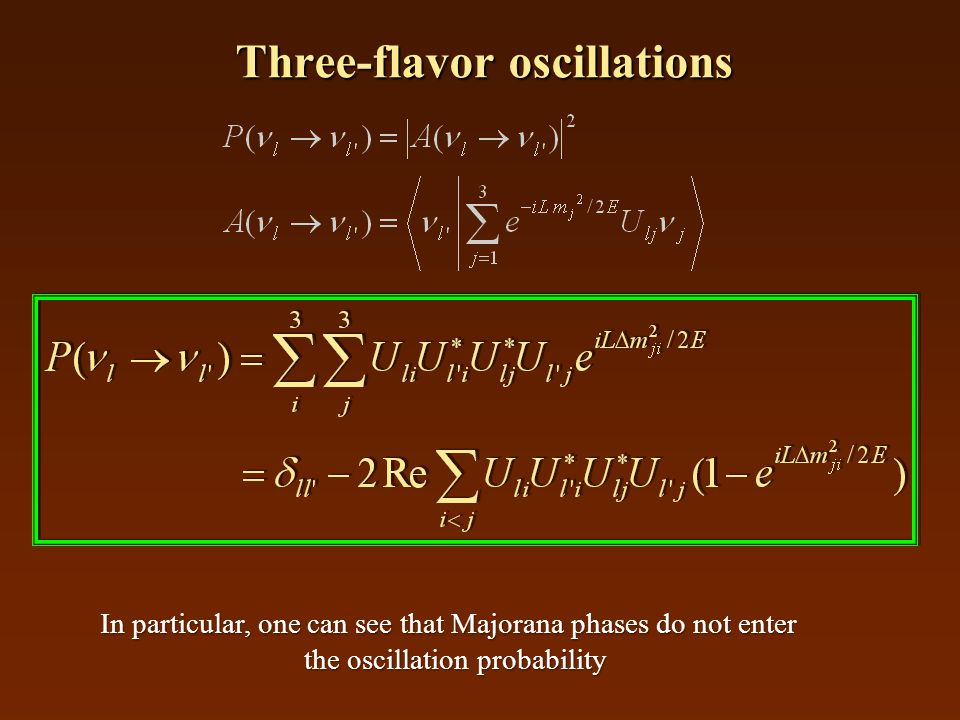 Three-flavor oscillations In particular, one can see that Majorana phases do not enter the oscillation probability
