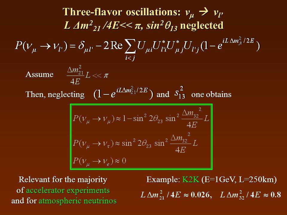 Three-flavor oscillations: ν μ  ν l' L Δm 2 21 /4E<< π, sin 2  13 neglected Assume Then, neglecting and one obtains Relevant for the majority of accelerator experiments and for atmospheric neutrinos Example: K2K (E=1GeV, L=250km)