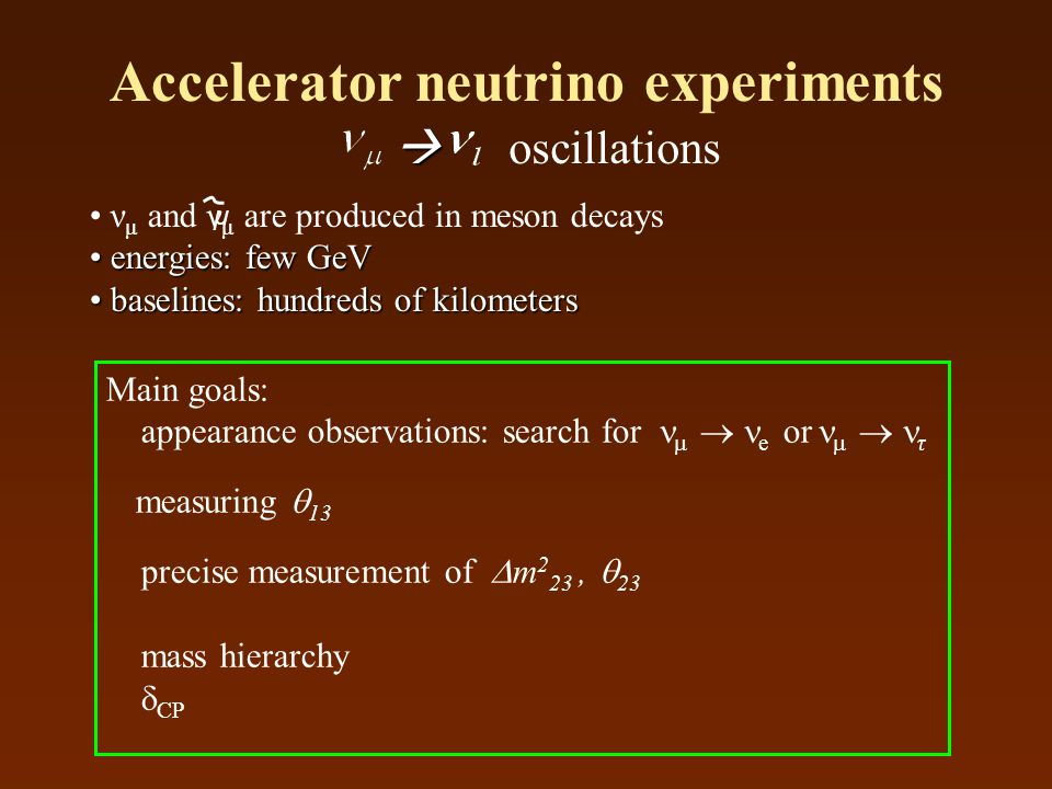 Accelerator neutrino experiments ν μ and ν μ are produced in meson decays energies: few GeV energies: few GeV baselines: hundreds of kilometers baseli
