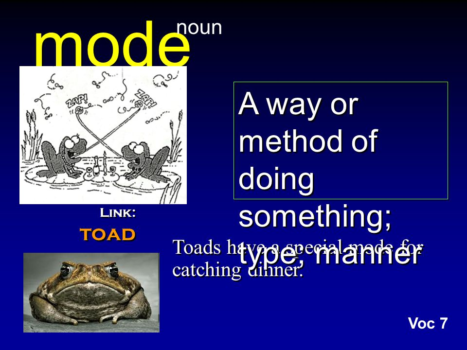 mode Toads have a special mode for catching dinner.