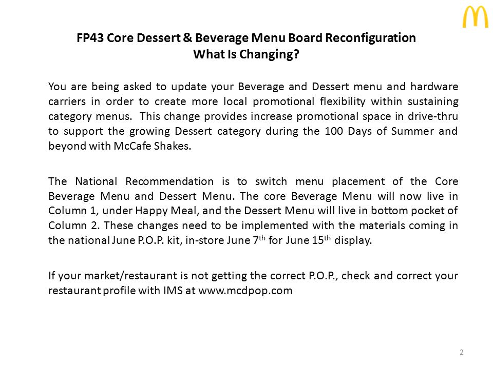 FP43 Core Dessert & Beverage Menu Board Reconfiguration What Is Changing.