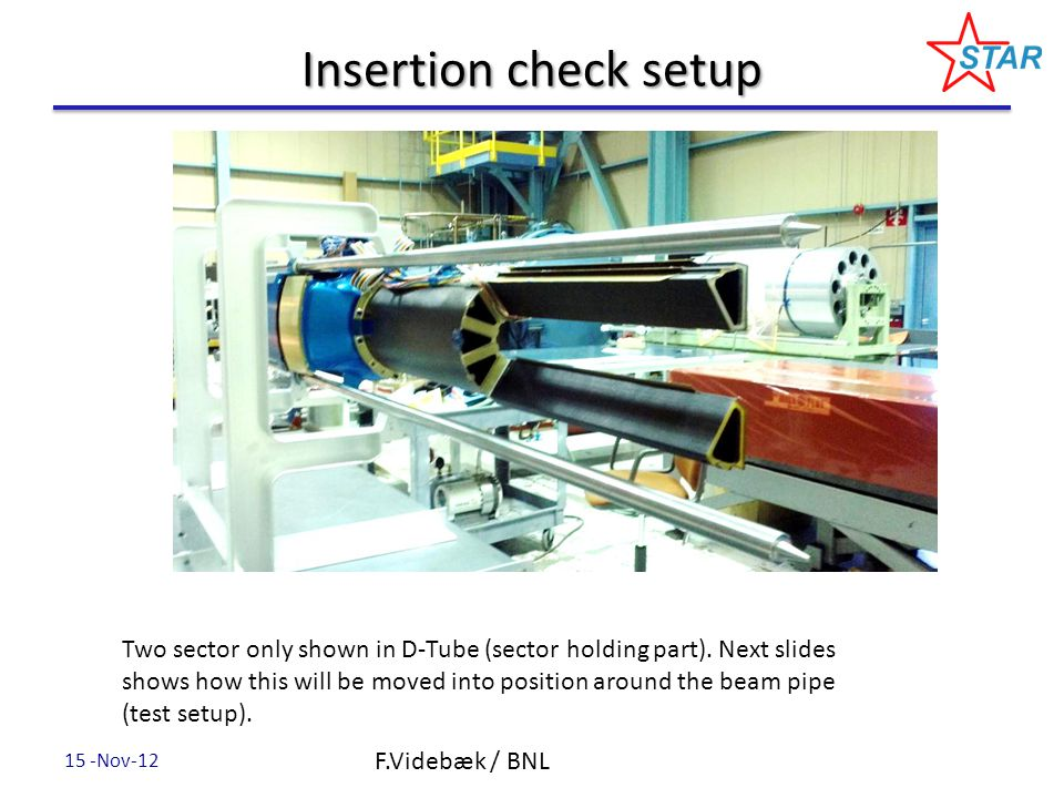 Insertion check setup F.Videbæk / BNL Two sector only shown in D-Tube (sector holding part).