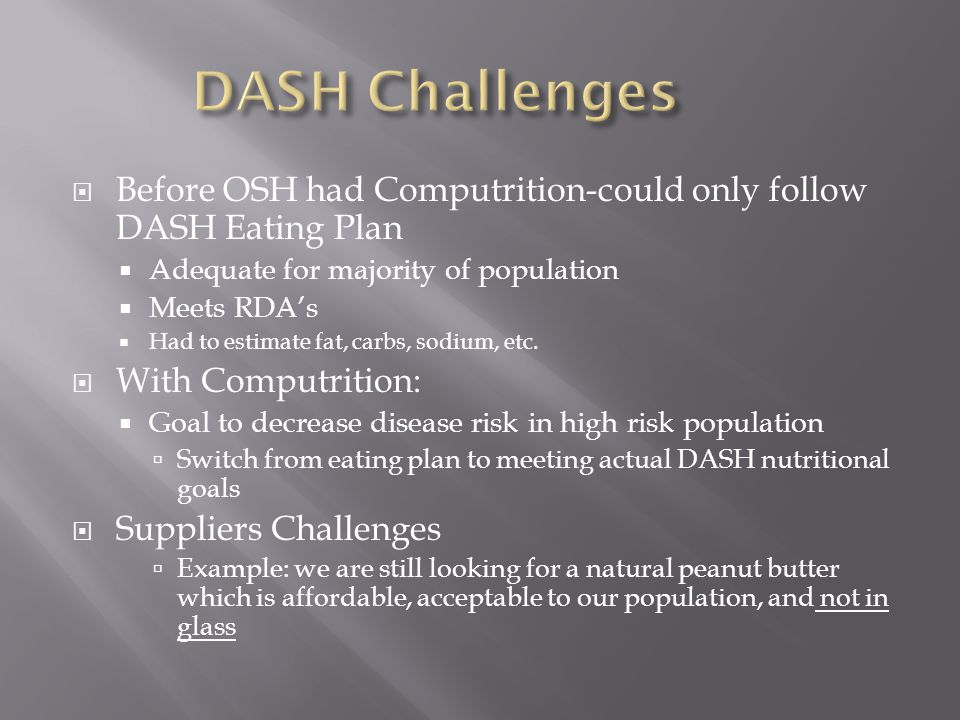  Before OSH had Computrition-could only follow DASH Eating Plan  Adequate for majority of population  Meets RDA's  Had to estimate fat, carbs, sodium, etc.