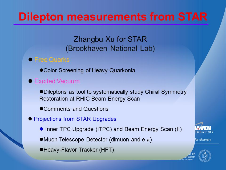 32 Quantify the spectral function Temperature dependence of rho spectral function 1.Beam energy range where final state is similar 2.Initial state and temperature evolution different 3.Density dependence by Azimuthal dependence (v 2 ) 4.Use centrality dependence as another knob 5.Direct photon results should match with extrapolation