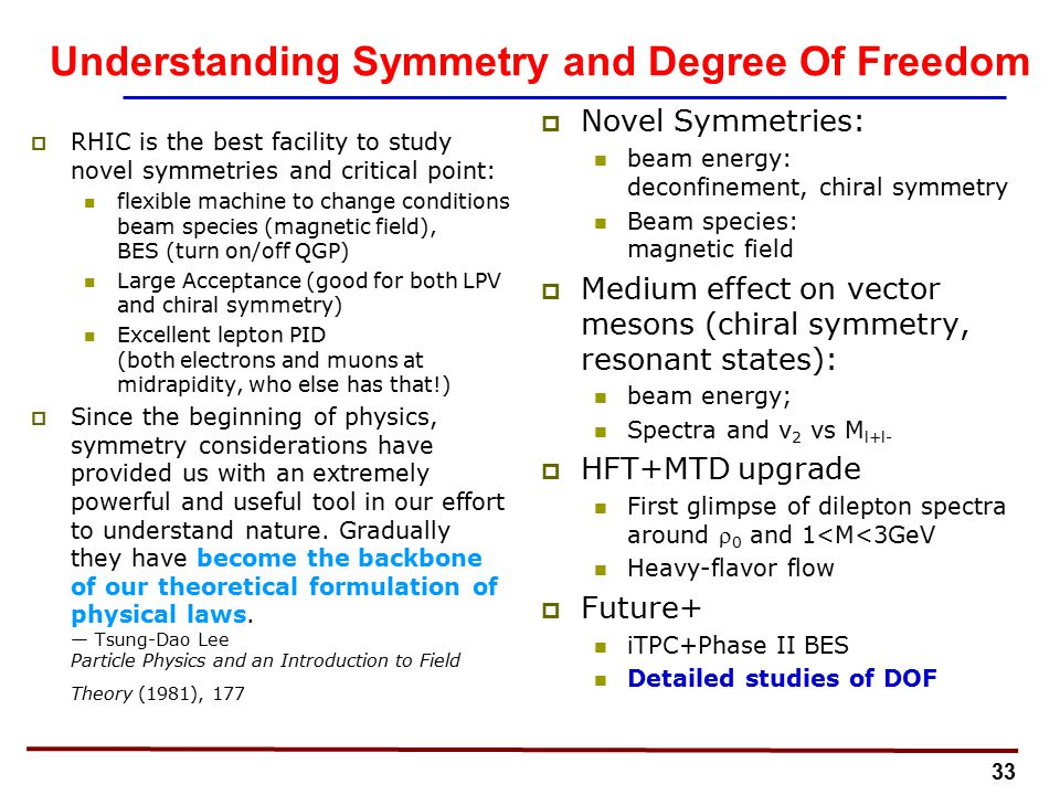 33 Understanding Symmetry and Degree Of Freedom  RHIC is the best facility to study novel symmetries and critical point: flexible machine to change conditions beam species (magnetic field), BES (turn on/off QGP) Large Acceptance (good for both LPV and chiral symmetry) Excellent lepton PID (both electrons and muons at midrapidity, who else has that!)  Since the beginning of physics, symmetry considerations have provided us with an extremely powerful and useful tool in our effort to understand nature.