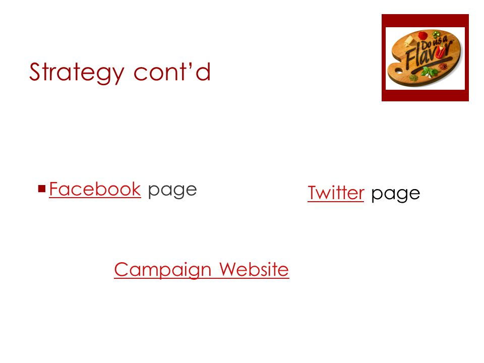 Strategy cont'd  Facebook page Facebook TwitterTwitter page Campaign Website