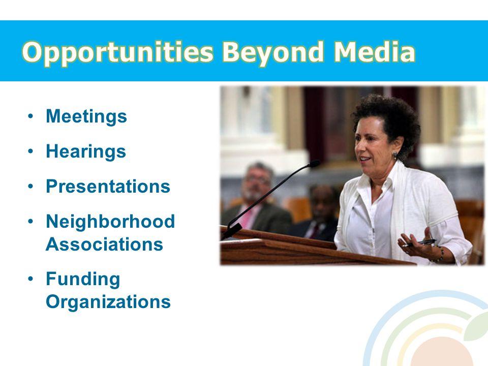Meetings Hearings Presentations Neighborhood Associations Funding Organizations