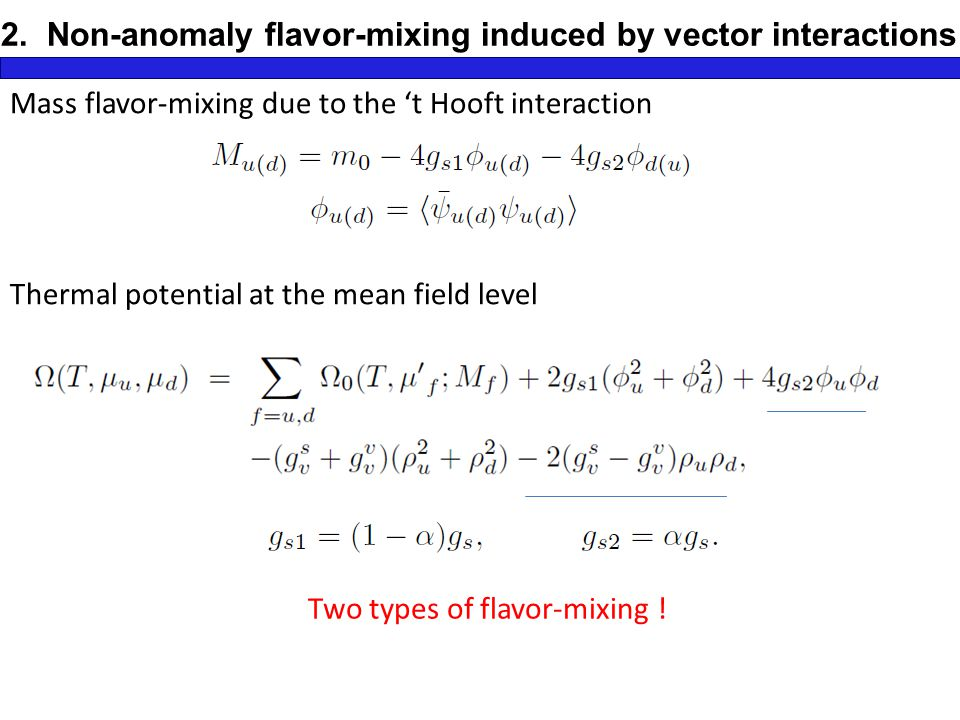 2. Non-anomaly flavor-mixing induced by vector interactions Z.
