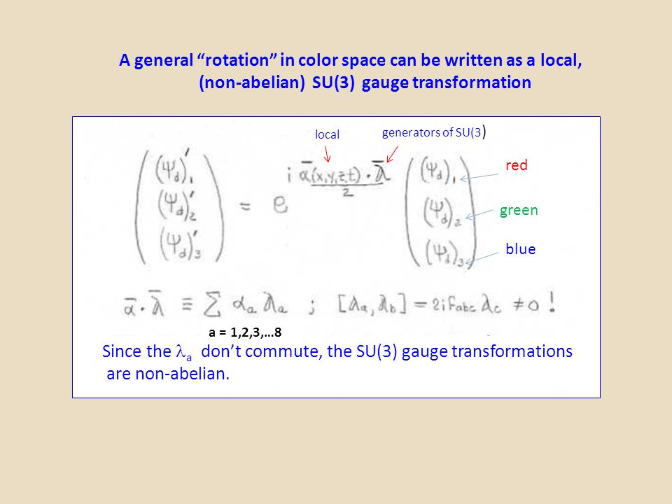 A general rotation in color space can be written as a local, (non-abelian) SU(3) gauge transformation local generators of SU(3 ) Since the a don't commute, the SU(3) gauge transformations are non-abelian.