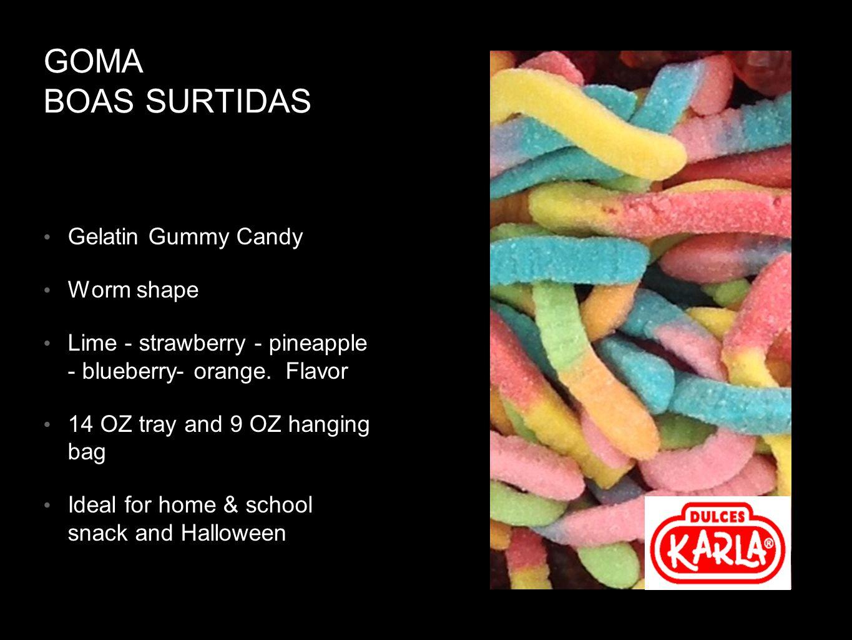 GOMA BOAS SURTIDAS Gelatin Gummy Candy Worm shape Lime - strawberry - pineapple - blueberry- orange.