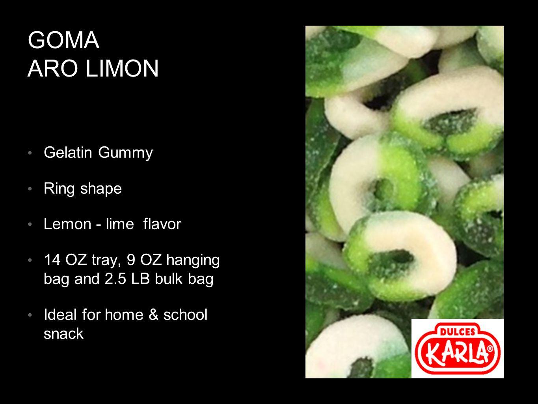 GOMA ARO LIMON Gelatin Gummy Ring shape Lemon - lime flavor 14 OZ tray, 9 OZ hanging bag and 2.5 LB bulk bag Ideal for home & school snack