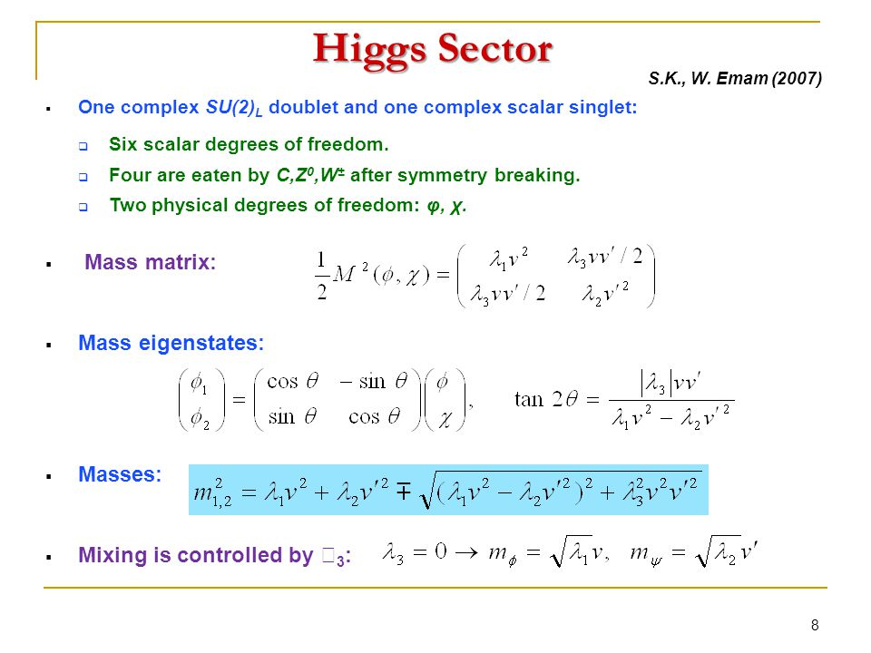 Higgs Sector  One complex SU(2) L doublet and one complex scalar singlet:  Six scalar degrees of freedom.