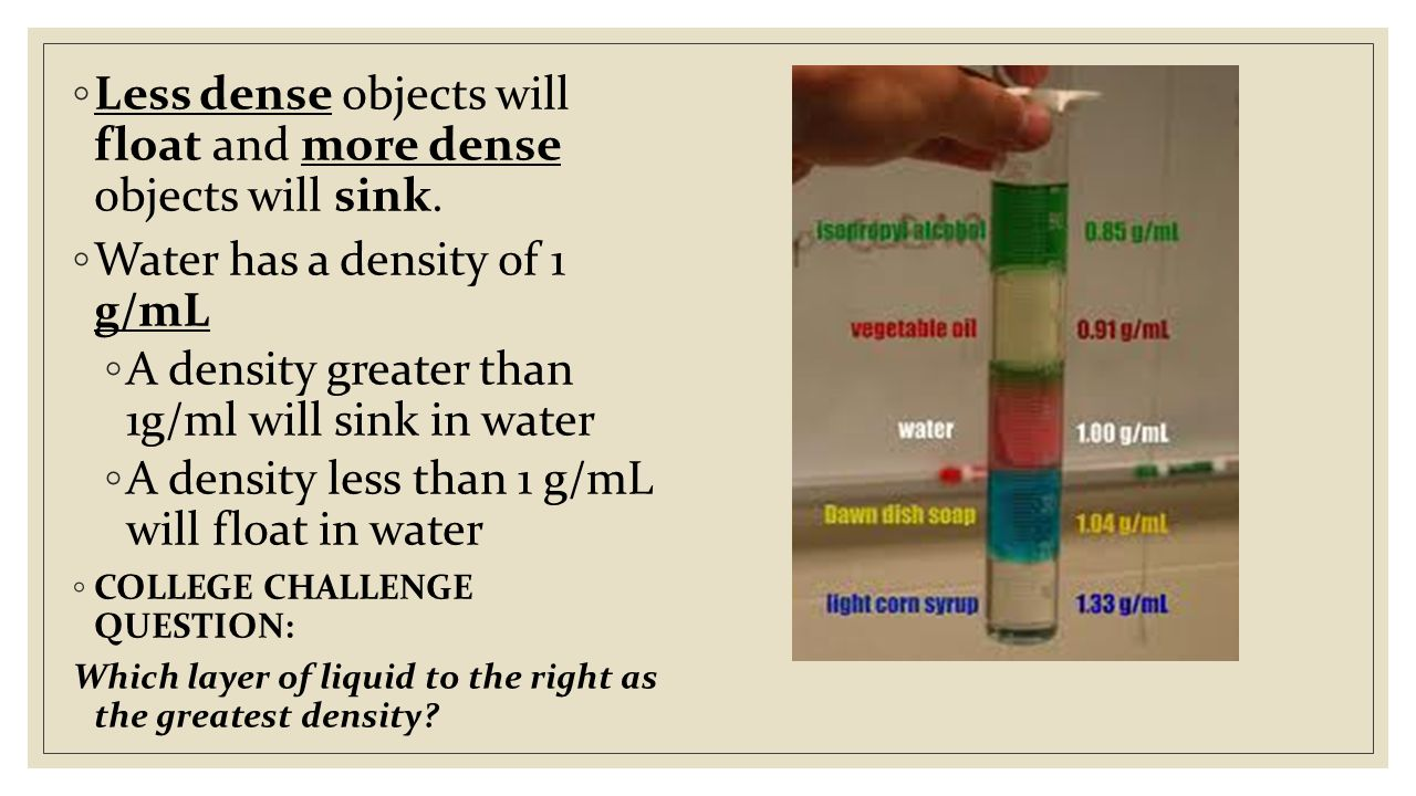 ◦ Less dense objects will float and more dense objects will sink.