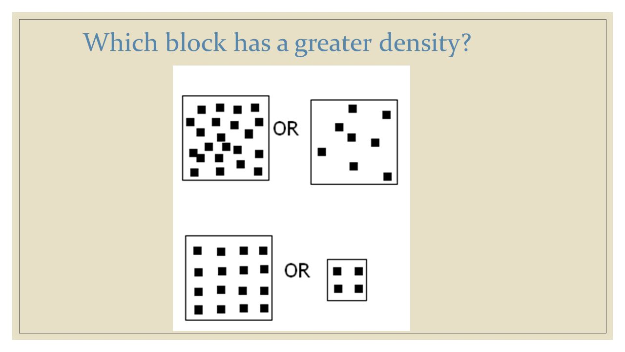 Which block has a greater density
