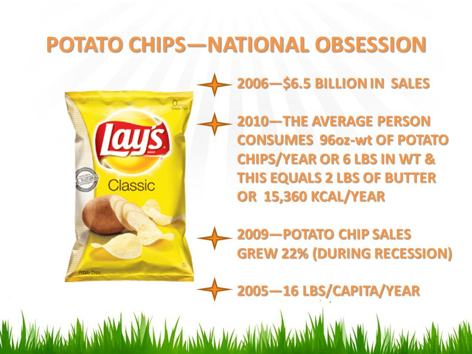 POTATO CHIPS—NATIONAL OBSESSION 2006—$6.5 BILLION IN SALES 2010—THE AVERAGE PERSON CONSUMES 96oz-wt OF POTATO CHIPS/YEAR OR 6 LBS IN WT & THIS EQUALS