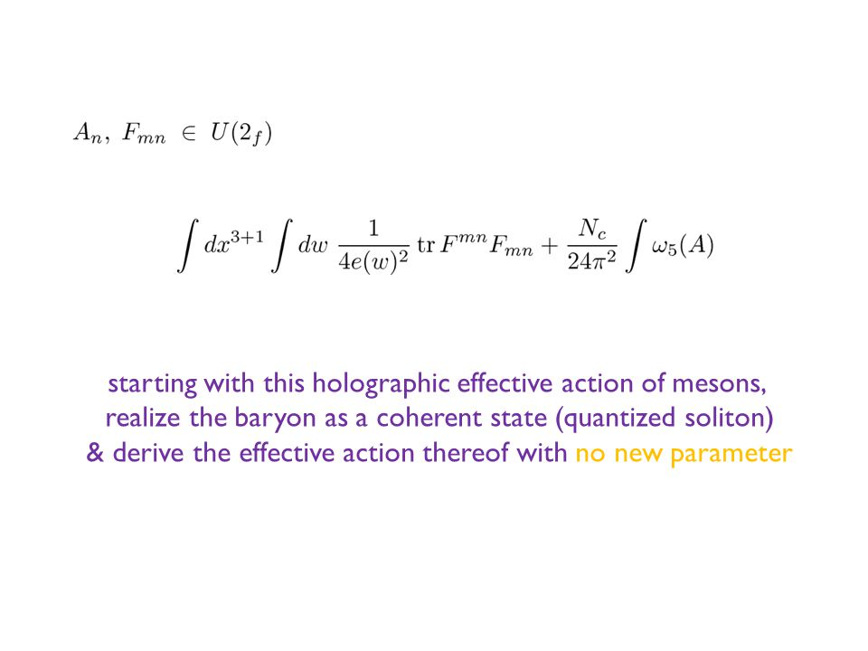 starting with this holographic effective action of mesons, realize the baryon as a coherent state (quantized soliton) & derive the effective action thereof with no new parameter