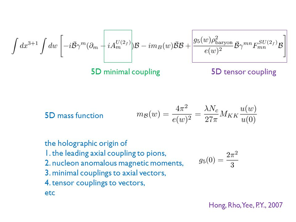5D minimal coupling 5D mass function 5D tensor coupling Hong, Rho, Yee, P.Y., 2007 the holographic origin of 1. the leading axial coupling to pions, 2
