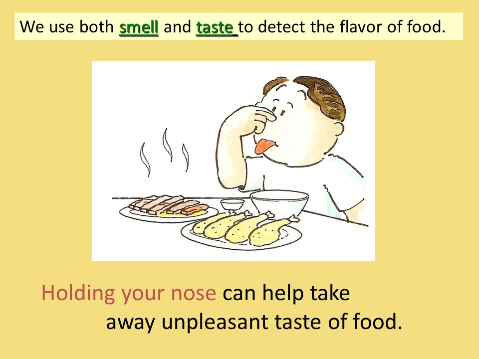 Process to smell food -When we breathe, some chemicals enter our nose => => chemicals dissolve in the mucus => => stimulate the smell receptors to produce messages => => These messages are sent to the brain to give us the odor of the food.
