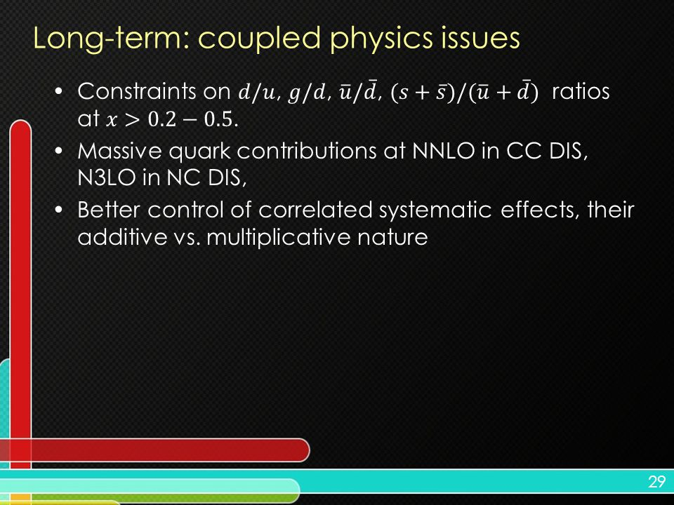 29 Long-term: coupled physics issues