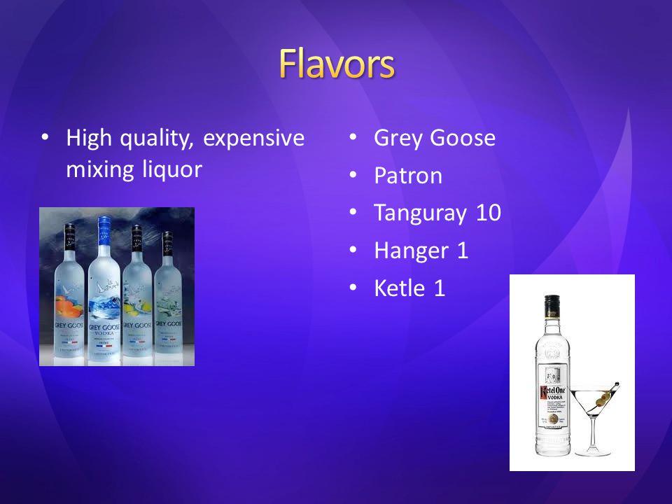 High quality, expensive mixing liquor Grey Goose Patron Tanguray 10 Hanger 1 Ketle 1